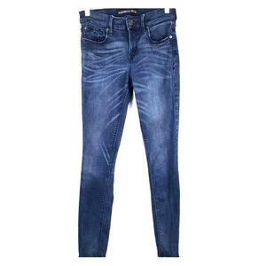Express 2R Mid Rise Legging Jeans Medium Wash Blue